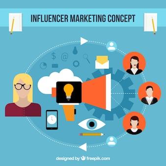 Flat influencer marketing concept