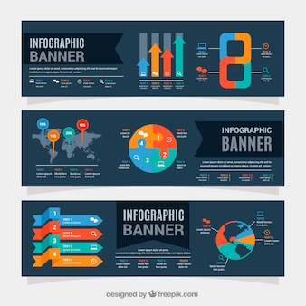 Flat infographic banners with colored charts