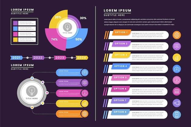Коллекция плоских инфографических элементов