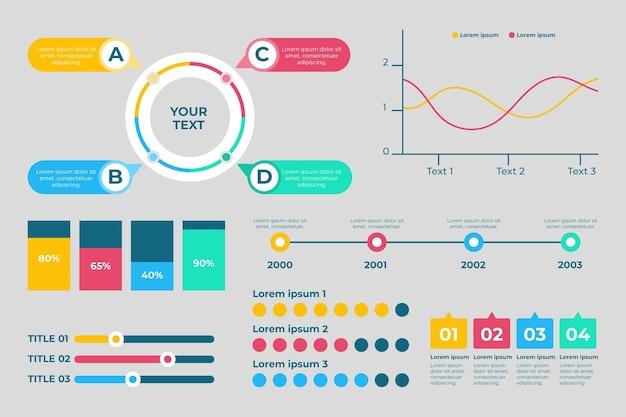 Collezione di elementi infografici piatti