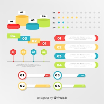 Flat infographic element pack