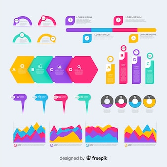 Flat infographic element set