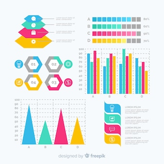 Flat infographic element template collection