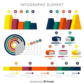 Плоские инфографики элементы коллекции