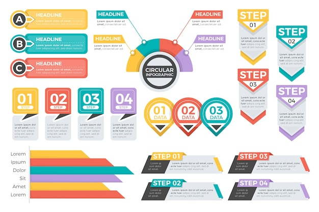 플랫 infographic 요소 컬렉션