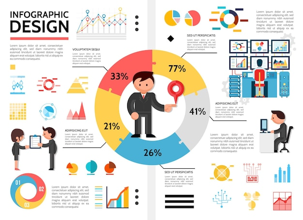 Flat infographic elements concept with man standing in center of pie chart diagrams graphs business people