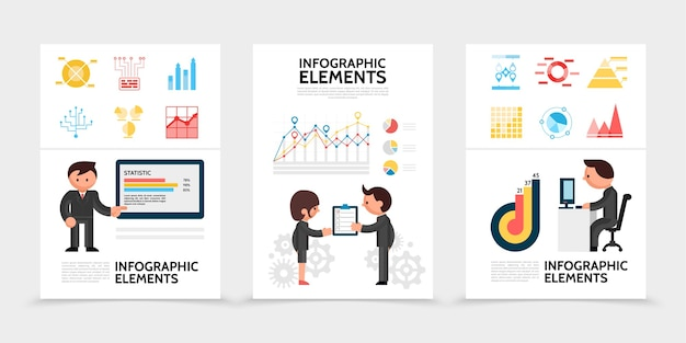 Flat infographic elements posters