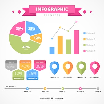 Flat infographic elements with fantastic colors