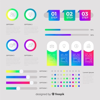 Flat infographic elements with stats collection