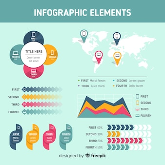 Flat infographic elements