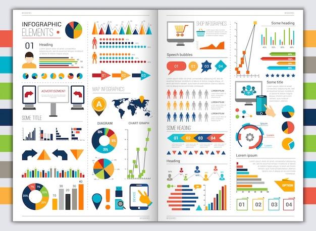 Плоский инфографический набор