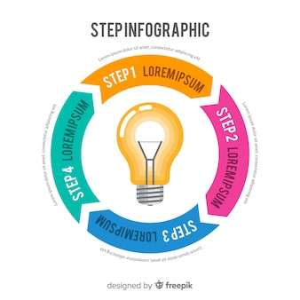 Flat infographic step