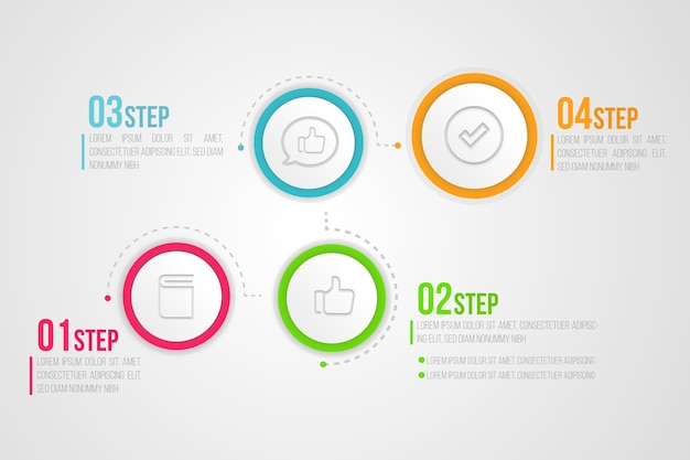Flat infographic steps template