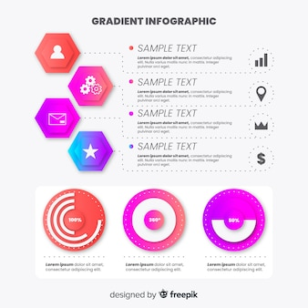 Flat infographic template gradient style