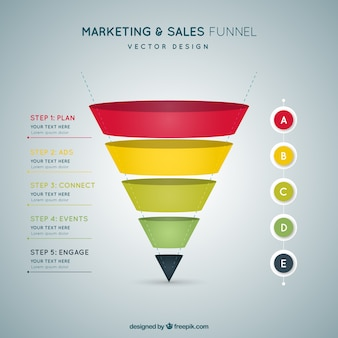 Flat infographic template with funnel shaped