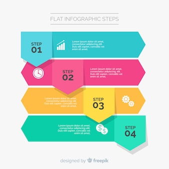 Flat infographic template with steps