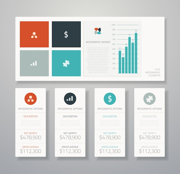 Flat infographic ui vector elements