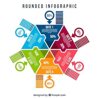 Flat infographic with colored circles and hexagon