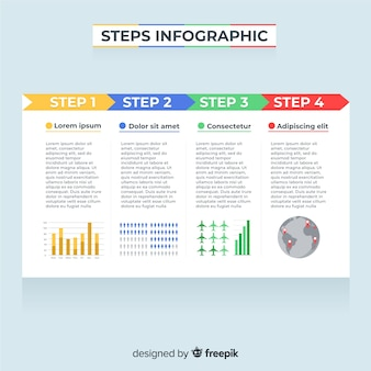 Flat infographic with steps