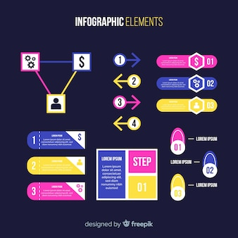 Flat infographics element collection