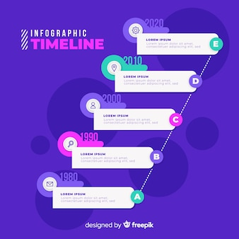 Плоская инфографика графика времени