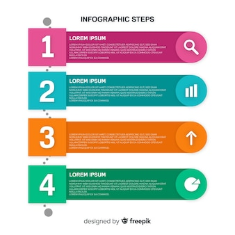 Flat infographics steps template