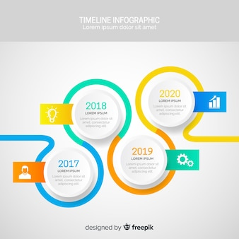 Flat infographics of time line