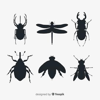 Коллекция плоских насекомых силуэт