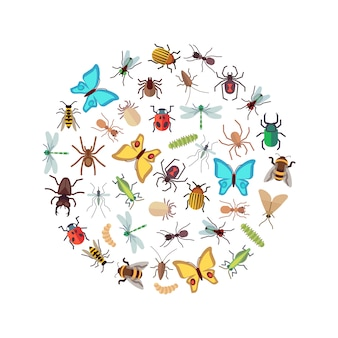 Flat insects icons round concept