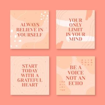 Raccolta di post instagram citazioni ispiratrici piatte