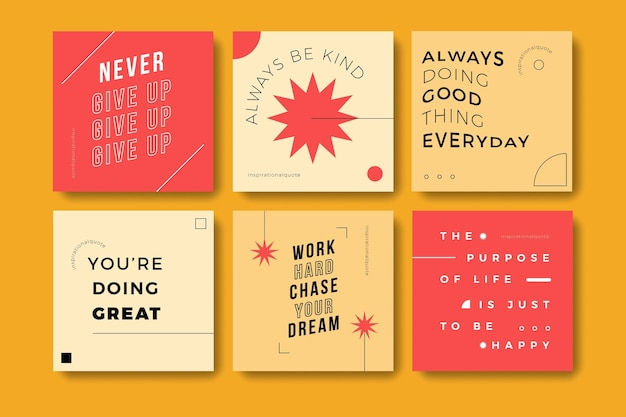 Flat inspirational quotes instagram post set