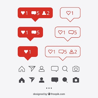 Set di icone e notifiche di instagram piatte