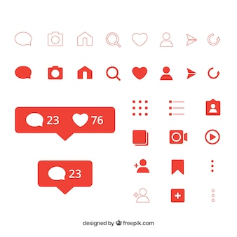 Flat instagram icons and notifications set