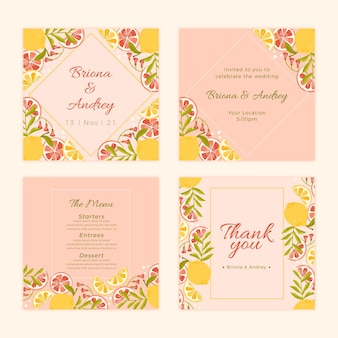 Flat instagram posts collection with citrus for wedding