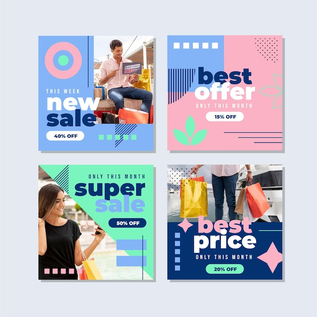 Flat instagram sale posts collection with photo