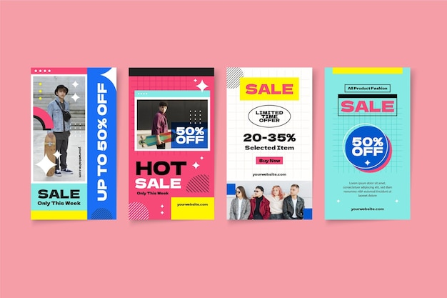 Flat instagram sale stories collection with photo