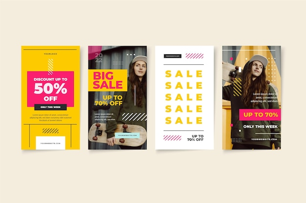 Raccolta di storie di vendita di instagram piatte con foto