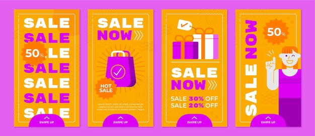 Raccolta di storie di vendita piatta su instagram
