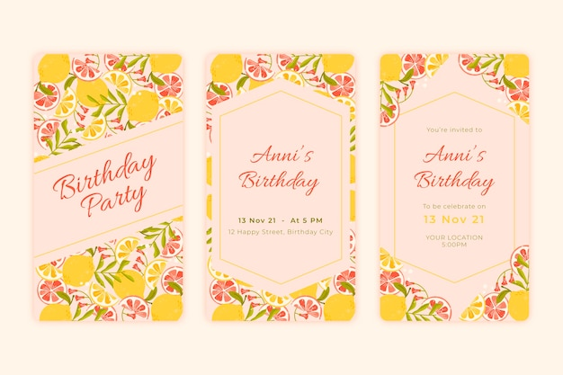 Flat instagram stories collection with citrus for wedding