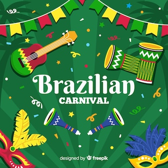 Flat instruments brazilian carnival background