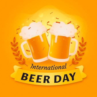 Flat international beer day celebration