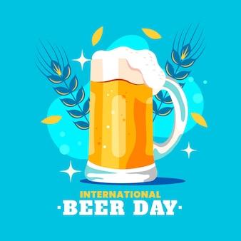 Concetto di giornata internazionale della birra piatta