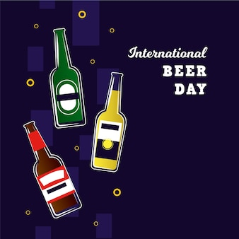 Flat international beer day concept
