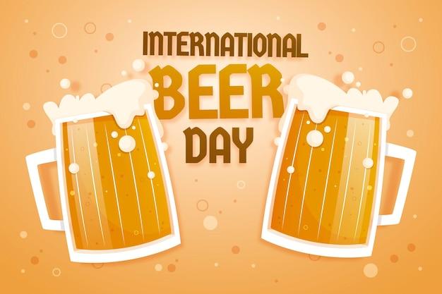 Concetto di giornata internazionale della birra piatta Vettore gratuito