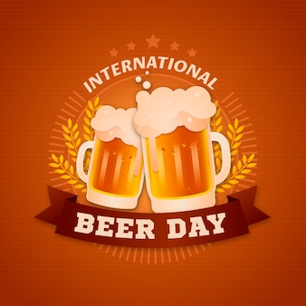 Flat international beer day event celebration