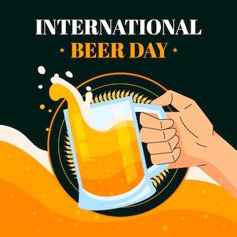 フラット国際ビールの日イラスト