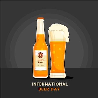 Flat international beer day illustration