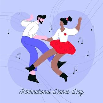 Плоский международный день танца иллюстрация