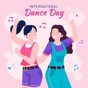 플랫 국제 댄스 데이 일러스트레이션
