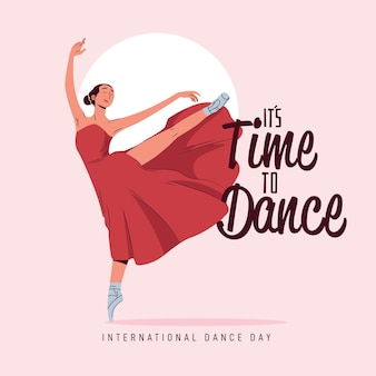 Flat international dance day illustration